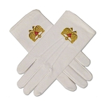 32nd Degree Double Headed Eagle Scottish Rite White Hand Embroidered Gloves