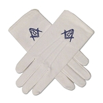 Square & Compass White & Blue Hand Embroidered Gloves