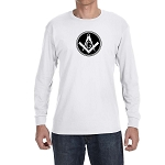 Square & Compass Filled Circle Long Sleeve T-Shirt