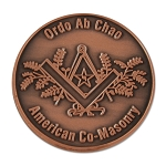 Co-Masonic Copper Coin - 1 1/4
