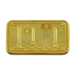 Masonic Gold Bar Column Coin with Protective Plastic Case - 2