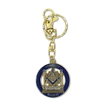 Square & Compass in Columns Round Blue & Gold Key Chain - 1 1/2