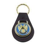 32nd Degree Double Headed Eagle Scottish Rite Black Leather Light Blue & Gold Medallion Key Chain - 3 3/8