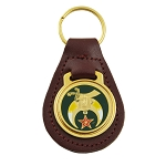 Shriner Brown Leather Green & Gold Medallion Key Chain - 3