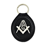 Embroidered Silver Square & Compass Black Leather Key Chain - 3 5/8