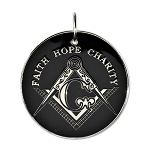 Faith Hope Charity Square & Compass Black & White Holiday Ornament - 2 1/2