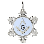 Square & Compass Silver & Blue Snowflake Holiday Ornament - 2 1/2
