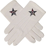 Order of the Eastern Star White Hand Embroidered Gloves