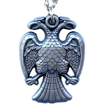 Double Headed Eagle Scottish Rite Antique Finish Pendant Necklace with Chain - 1 1/2