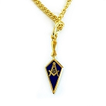 Trowel with Square & Compass Blue & Gold Pendant Necklace - 1