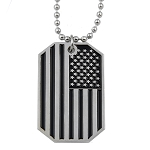 American Flag USA Patriot Freedom Stars & Stripes Dog Tag Silver Pendant Necklace - 1 1/2