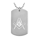 Engraved Square & Compass Silver Dog Tag Pendant Necklace - 2