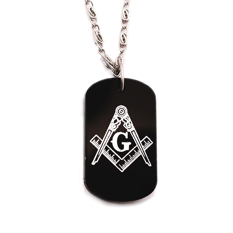 Engraved square compass black and white plastic dog tag pendant engraved square compass black and white plastic dog tag pendant necklace 2 tall aloadofball Gallery