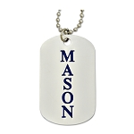 Engraved Mason Square & Compass Silver Dog Tag Pendant Necklace - 2