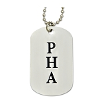 Engraved PHA (Prince Hall) Square & Compass Silver Dog Tag Pendant Necklace - 2