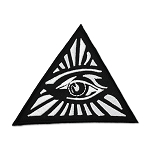 All Seeing Eye Black & White Embroidered Patch - 3