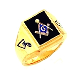 Gold Plated Blue Lodge Ring MASCJ1154