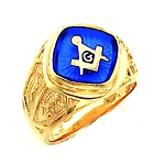 Gold Plated Blue Lodge Ring MASCJ1159