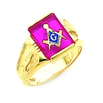 Gold Plated Blue Lodge Ring MASCJ60217