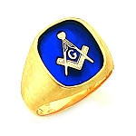 Gold Plated Blue Lodge Ring MASCJ60989