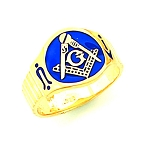 Gold Plated Blue Lodge Ring MASCJ792000