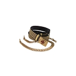Black & Gold Leather Belt with Leather Sling or Barrel Chain Option KT440