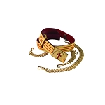 Red & Gold Leather Belt with Leather Sling or Barrel Chain Options KT450