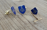 Square & Compass Blue & Gold Cuff Link and Tie Tac Set