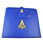 Blue Leather Apron Case with Gold Embroidered Square & Compass - 18 1/4