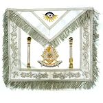 White Fringed Double Column Past Master Apron