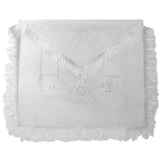 White Fringed Past Master Apron with Sun