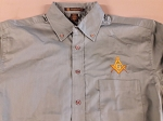Embroidered Square & Compass Harriton Twill New Olive Large Button Down Shirt