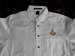 Embroidered Square & Compass Harriton Twill White Large Button Down Shirt