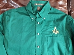 Embroidered Square & Compass Harriton Twill Forest Green Large Button Down Shirt
