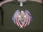 X-Large Military Green Patriotic Flag Eagle Wings Holding Square & Compass Masonic Men's Crewneck T-Shirt