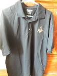 X-Large Black Jersey Polo with Embroidered Square & Compass