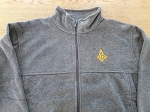 Grey XX-Large Full Zip Fleece Jacket with Embroidered Square & Compass