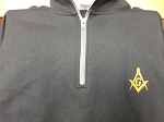 Black X-Large Quarter Zip Sweatshirt with Embroidered Square & Compass