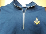 Navy Blue X-Large Quarter Zip Sweatshirt with Embroidered Square & Compass