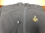 Black XX-Large Zip-Up Microfleece Softshell Jacket with Embroidered Square & Compass