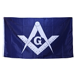 Square & Compass Blue & White Flag - 5' x 3'