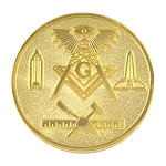 All Seeing Eye Square & Compass Working Tools Gold Coin - 1 1/4