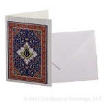 Square & Compass  Blue Mini Carpet Tapestry Gift Card