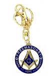 Square & Compass Faith Hope Charity Round Blue & Gold Key Chain - 1 1/2