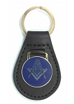 Square & Compass Black Leather Blue & Gold Medallion Key Chain - 3 1/8
