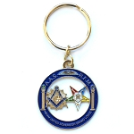 Shining Square & Compass with Order of the Eastern Star Round Blue & Gold Key Chain - 1 1/2