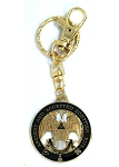 32nd Degree Double Headed Eagle Scottish Rite Round Black & Gold Key Chain - 1 1/2