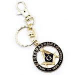 Square & Compass Faith Hope Charity Black Key Chain