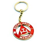 Royal Arch Masons Triple Tau Round Red & Gold Key Chain - 1 1/2