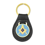 Square & Compass Black Leather Light Blue & Gold Medallion Key Chain - 3 1/4